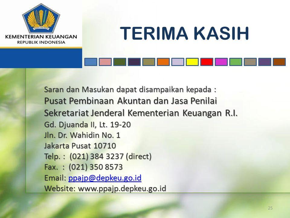 TERIMA KASIH 25 Saran dan Masukan dapat disampaikan kepada : Pusat Pembinaan Akuntan dan Jasa Penilai Sekretariat Jenderal Kementerian Keuangan R.I. G