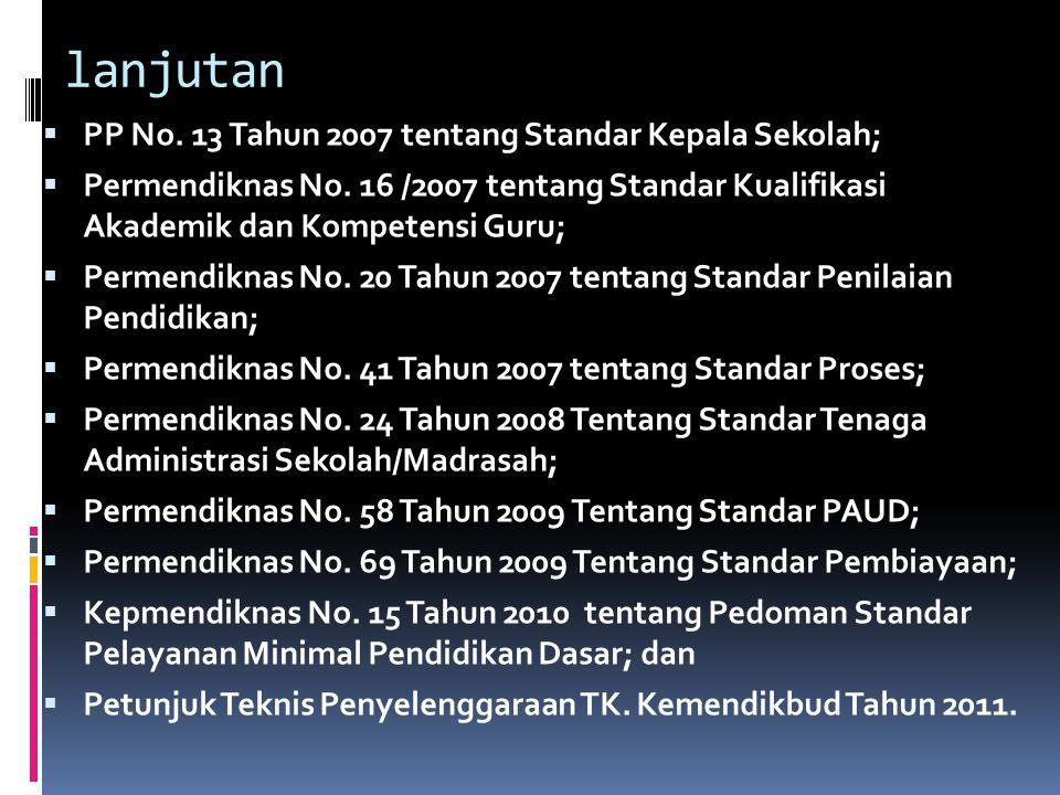 lanjutan  PP No.13 Tahun 2007 tentang Standar Kepala Sekolah;  Permendiknas No.