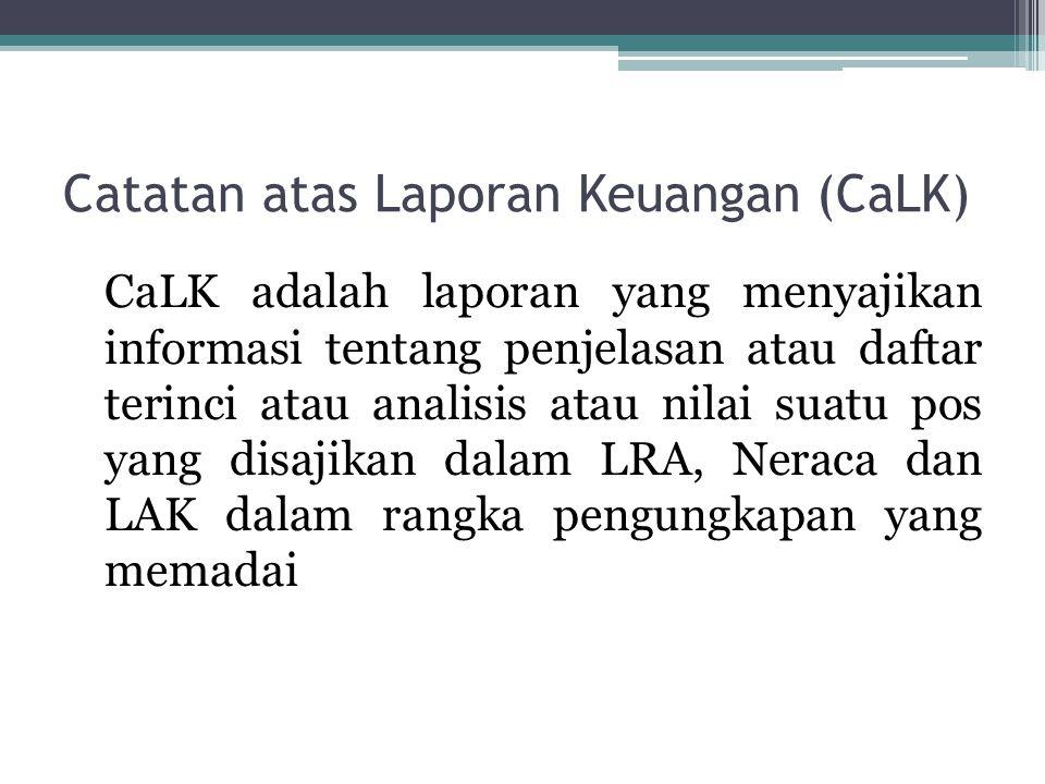 Catatan atas Laporan Keuangan (CaLK) CaLK adalah laporan yang menyajikan informasi tentang penjelasan atau daftar terinci atau analisis atau nilai sua