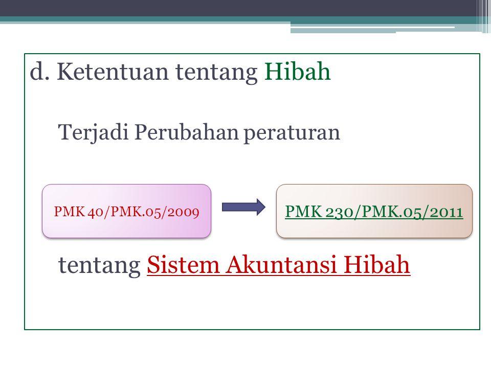 d. Ketentuan tentang Hibah Terjadi Perubahan peraturan tentang Sistem Akuntansi Hibah PMK 40/PMK.05/2009 PMK 230/PMK.05/2011