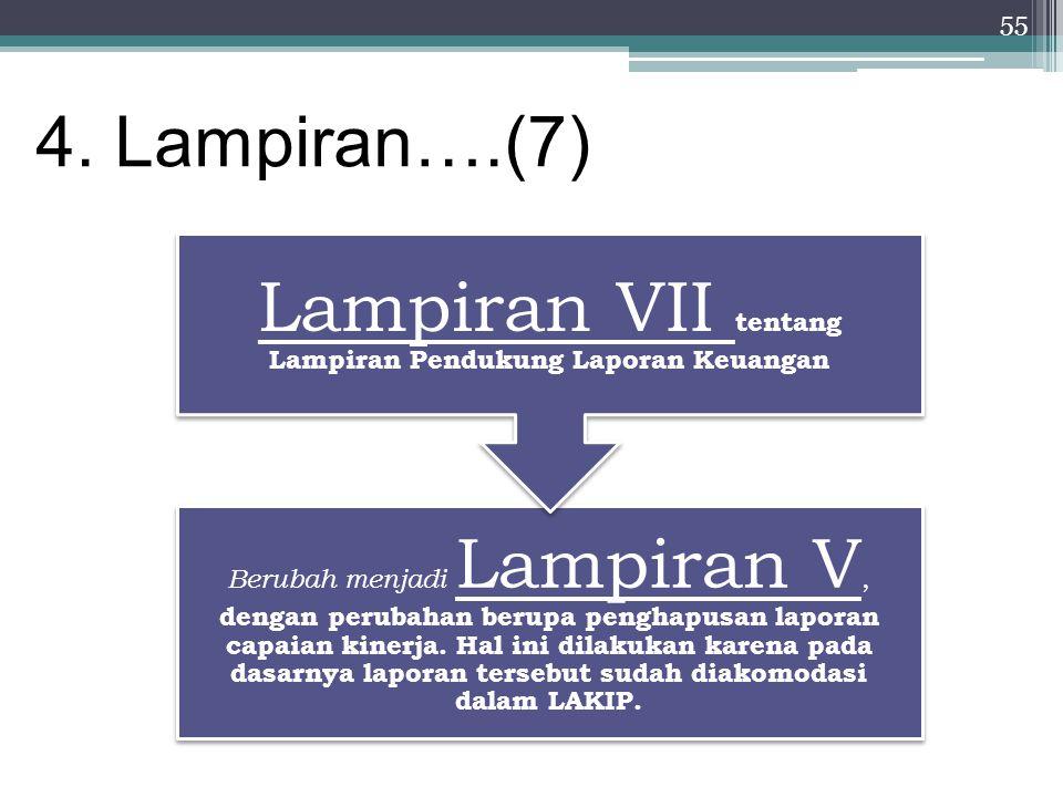 55 4. Lampiran….(7) Berubah menjadi Lampiran V, dengan perubahan berupa penghapusan laporan capaian kinerja. Hal ini dilakukan karena pada dasarnya la