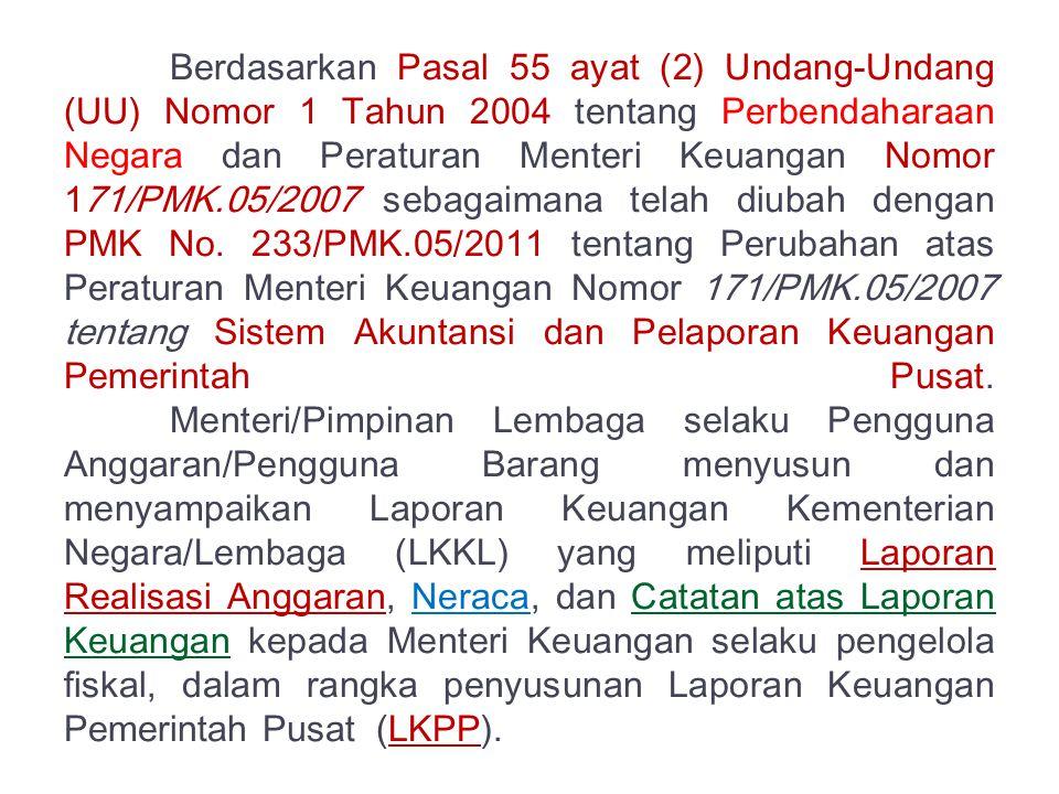 Berdasarkan Pasal 55 ayat (2) Undang-Undang (UU) Nomor 1 Tahun 2004 tentang Perbendaharaan Negara dan Peraturan Menteri Keuangan Nomor 171/PMK.05/2007