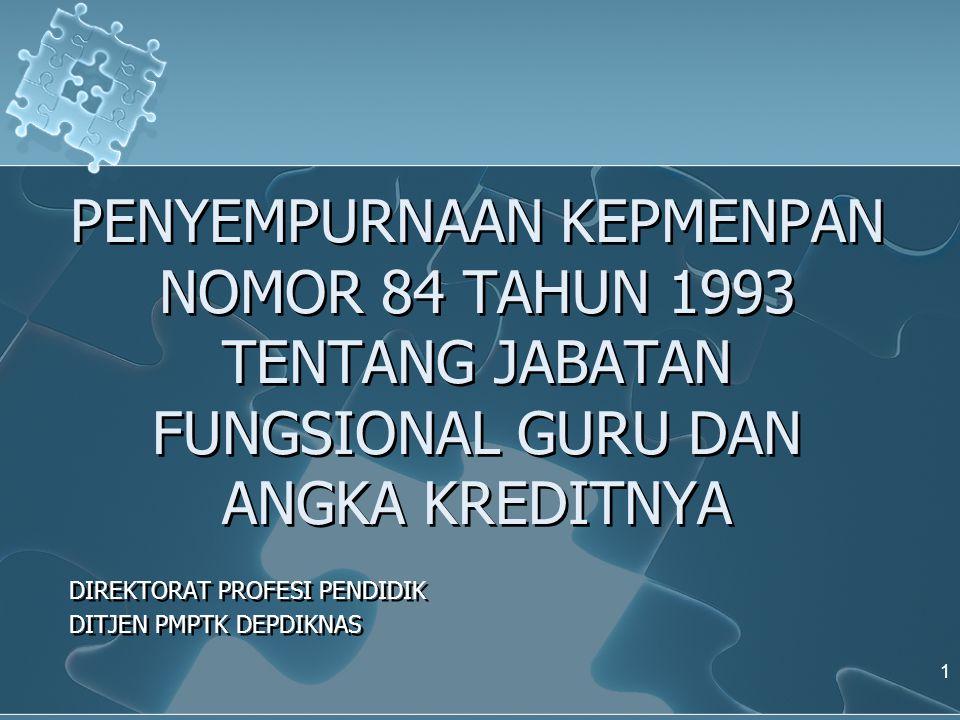 PENYEMPURNAAN KEPMENPAN NOMOR 84 TAHUN 1993 TENTANG JABATAN FUNGSIONAL GURU DAN ANGKA KREDITNYA DIREKTORAT PROFESI PENDIDIK DITJEN PMPTK DEPDIKNAS DIREKTORAT PROFESI PENDIDIK DITJEN PMPTK DEPDIKNAS 1