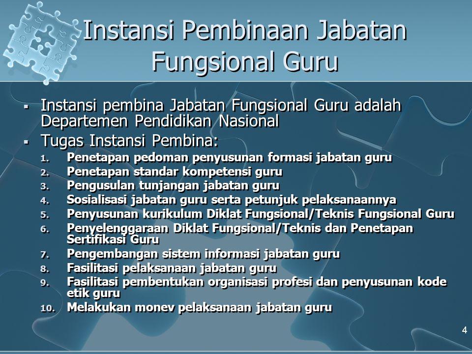 Instansi Pembinaan Jabatan Fungsional Guru  Instansi pembina Jabatan Fungsional Guru adalah Departemen Pendidikan Nasional  Tugas Instansi Pembina: 1.