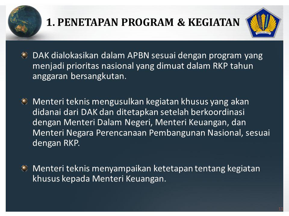 11 DAK dialokasikan dalam APBN sesuai dengan program yang menjadi prioritas nasional yang dimuat dalam RKP tahun anggaran bersangkutan.