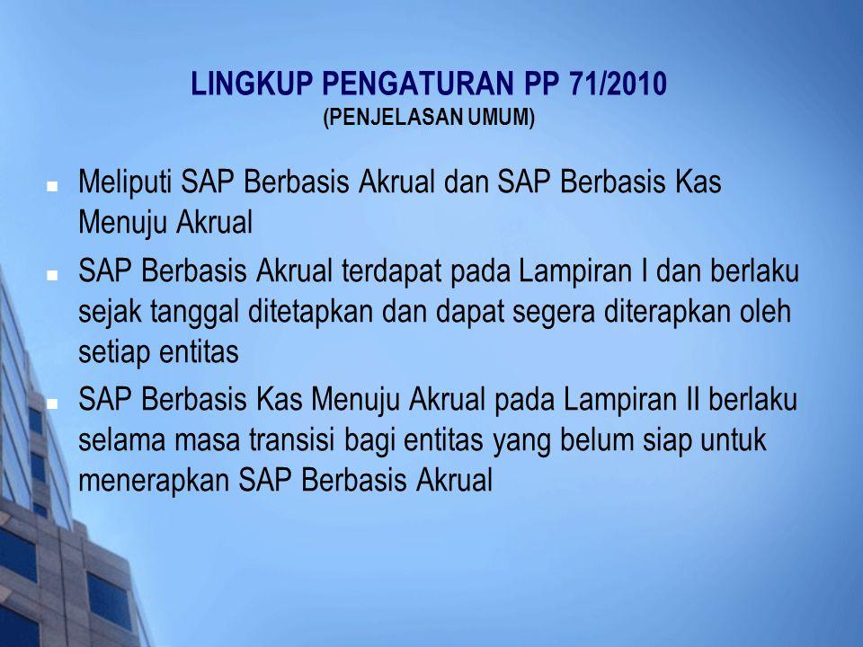 LINGKUP PENGATURAN PP 71/2010 (PENJELASAN UMUM)  Meliputi SAP Berbasis Akrual dan SAP Berbasis Kas Menuju Akrual  SAP Berbasis Akrual terdapat pada