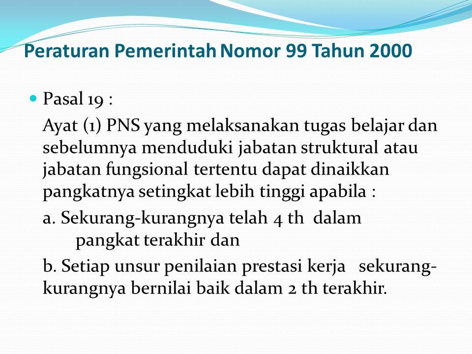 Peraturan Pemerintah Nomor 99 Tahun 2000  Pasal 19 : Ayat (1) PNS yang melaksanakan tugas belajar dan sebelumnya menduduki jabatan struktural atau ja