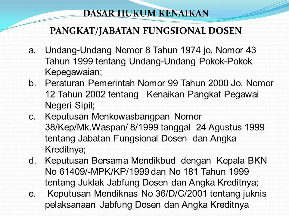 DASAR HUKUM KENAIKAN PANGKAT/JABATAN FUNGSIONAL DOSEN a.Undang-Undang Nomor 8 Tahun 1974 jo. Nomor 43 Tahun 1999 tentang Undang-Undang Pokok-Pokok Kep