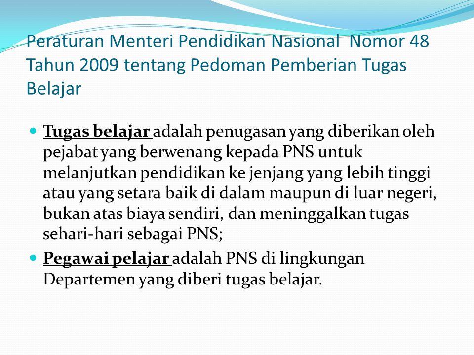 Peraturan Menteri Pendidikan Nasional Nomor 48 Tahun 2009 tentang Pedoman Pemberian Tugas Belajar  Tugas belajar adalah penugasan yang diberikan oleh