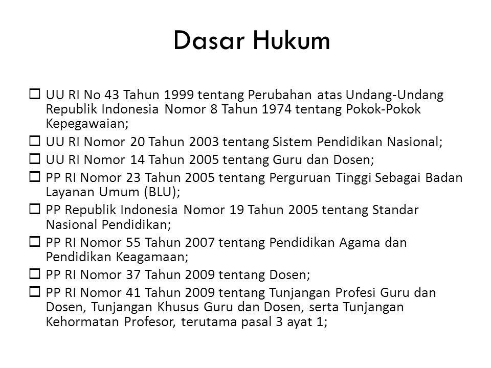 Dasar Hukum  UU RI No 43 Tahun 1999 tentang Perubahan atas Undang-Undang Republik Indonesia Nomor 8 Tahun 1974 tentang Pokok-Pokok Kepegawaian;  UU