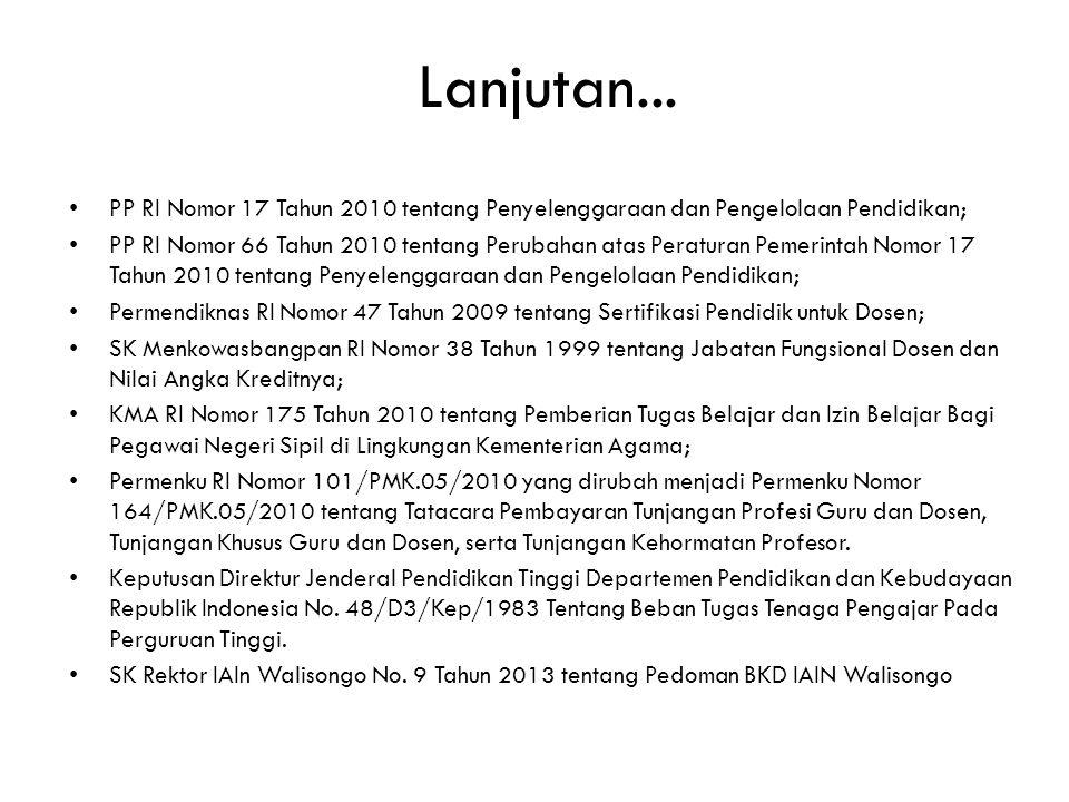 Lanjutan... • PP RI Nomor 17 Tahun 2010 tentang Penyelenggaraan dan Pengelolaan Pendidikan; • PP RI Nomor 66 Tahun 2010 tentang Perubahan atas Peratur