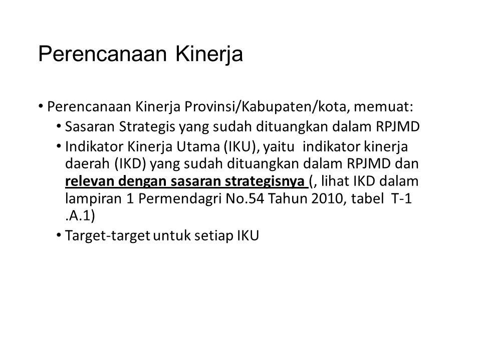 Perencanaan Kinerja • Perencanaan Kinerja Provinsi/Kabupaten/kota, memuat: • Sasaran Strategis yang sudah dituangkan dalam RPJMD • Indikator Kinerja U
