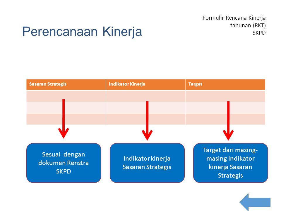 Perencanaan Kinerja Sasaran StrategisIndikator KinerjaTarget Formulir Rencana Kinerja tahunan (RKT) SKPD SKPD: Tahun: Sesuai dengan dokumen Renstra SK