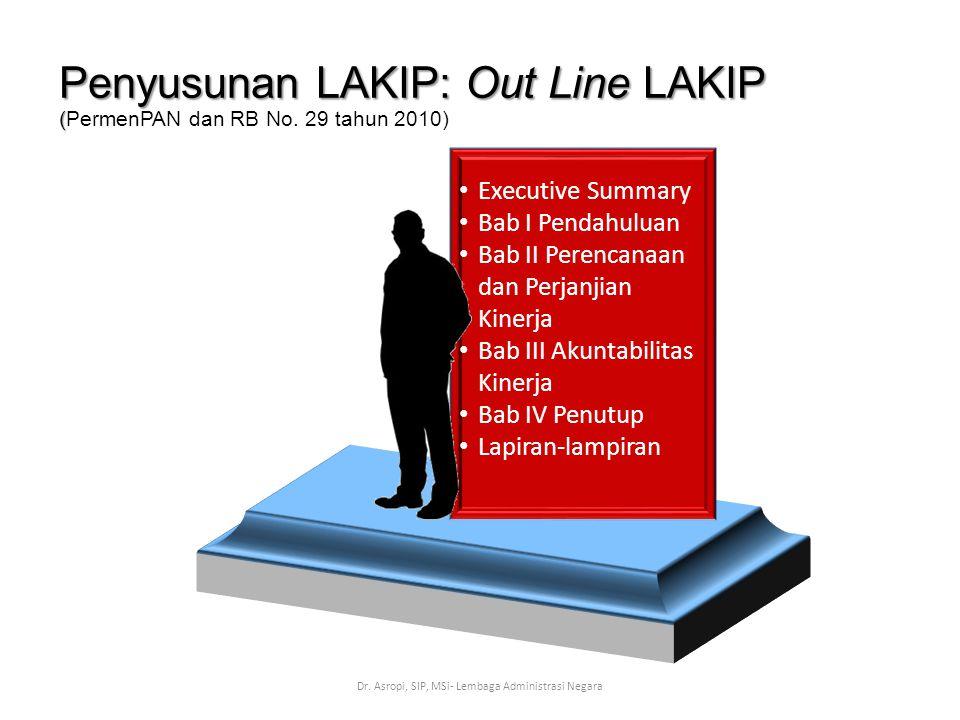 Penyusunan LAKIP: Out Line LAKIP ( Penyusunan LAKIP: Out Line LAKIP (PermenPAN dan RB No. 29 tahun 2010) Dr. Asropi, SIP, MSi- Lembaga Administrasi Ne