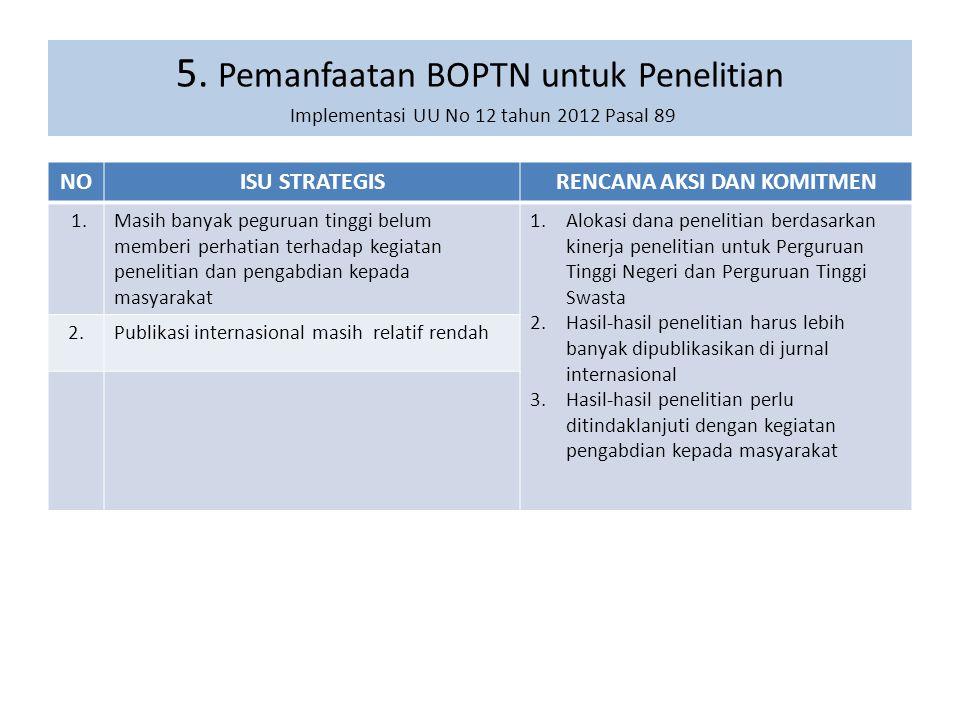 5. Pemanfaatan BOPTN untuk Penelitian Implementasi UU No 12 tahun 2012 Pasal 89 NOISU STRATEGISRENCANA AKSI DAN KOMITMEN 1.Masih banyak peguruan tingg