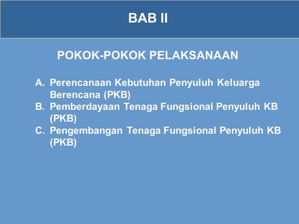 BAB II POKOK-POKOK PELAKSANAAN A.Perencanaan Kebutuhan Penyuluh Keluarga Berencana (PKB) B.Pemberdayaan Tenaga Fungsional Penyuluh KB (PKB) C.Pengemba