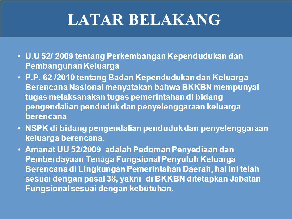 LATAR BELAKANG •U.U 52/ 2009 tentang Perkembangan Kependudukan dan Pembangunan Keluarga •P.P. 62 /2010 tentang Badan Kependudukan dan Keluarga Berenca