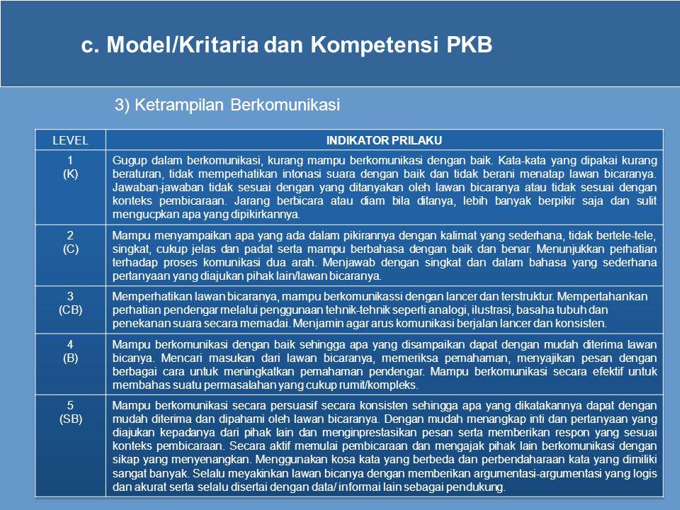 c.Model/Kritaria dan Kompetensi PKB 3) Ketrampilan Berkomunikasi