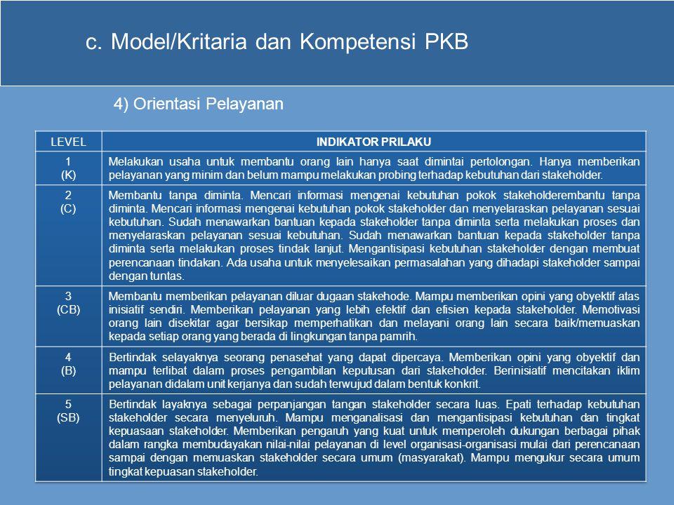 c.Model/Kritaria dan Kompetensi PKB 4) Orientasi Pelayanan