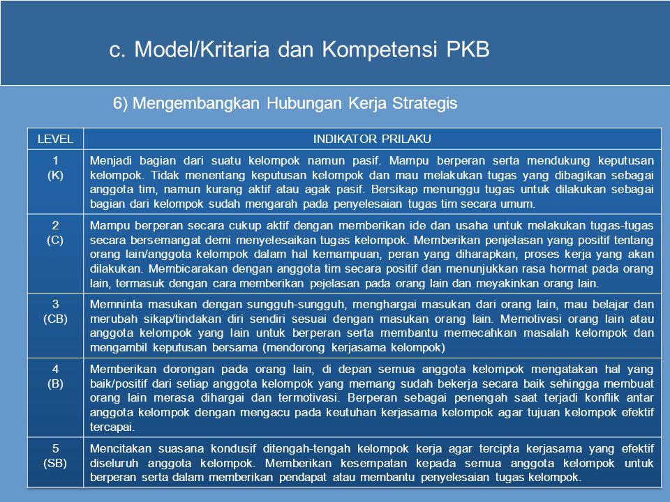 c.Model/Kritaria dan Kompetensi PKB 6) Mengembangkan Hubungan Kerja Strategis