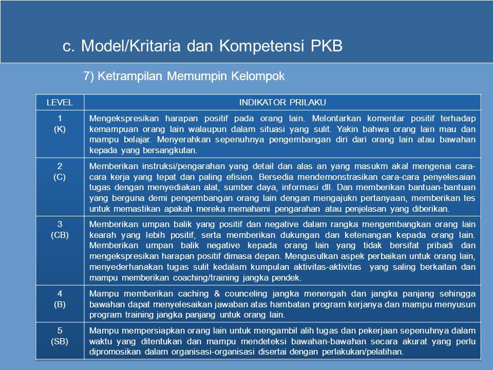 c.Model/Kritaria dan Kompetensi PKB 7) Ketrampilan Memumpin Kelompok