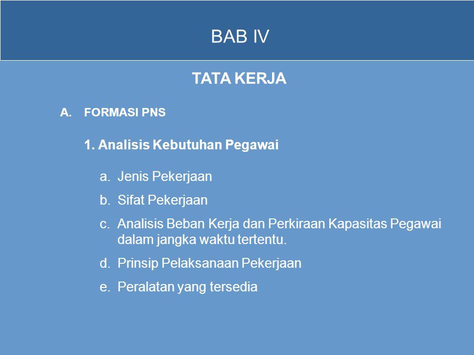 BAB IV TATA KERJA A.FORMASI PNS 1. Analisis Kebutuhan Pegawai a.Jenis Pekerjaan b.Sifat Pekerjaan c.Analisis Beban Kerja dan Perkiraan Kapasitas Pegaw