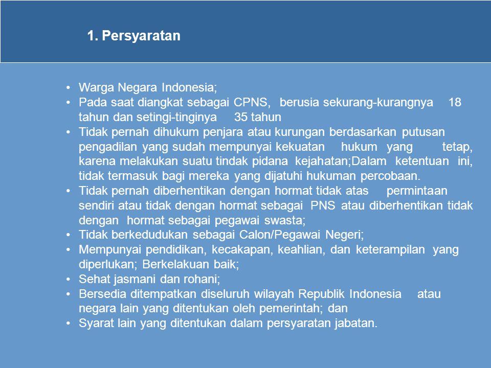 1. Persyaratan •Warga Negara Indonesia; •Pada saat diangkat sebagai CPNS, berusia sekurang-kurangnya 18 tahun dan setingi-tinginya 35 tahun •Tidak per