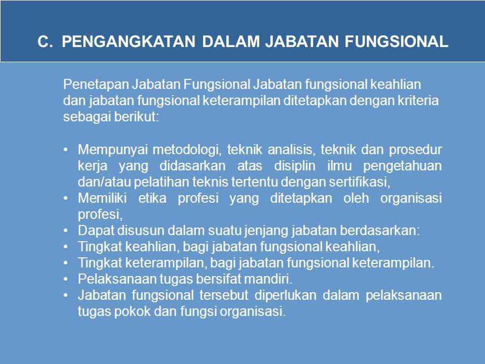 C.PENGANGKATAN DALAM JABATAN FUNGSIONAL Penetapan Jabatan Fungsional Jabatan fungsional keahlian dan jabatan fungsional keterampilan ditetapkan dengan