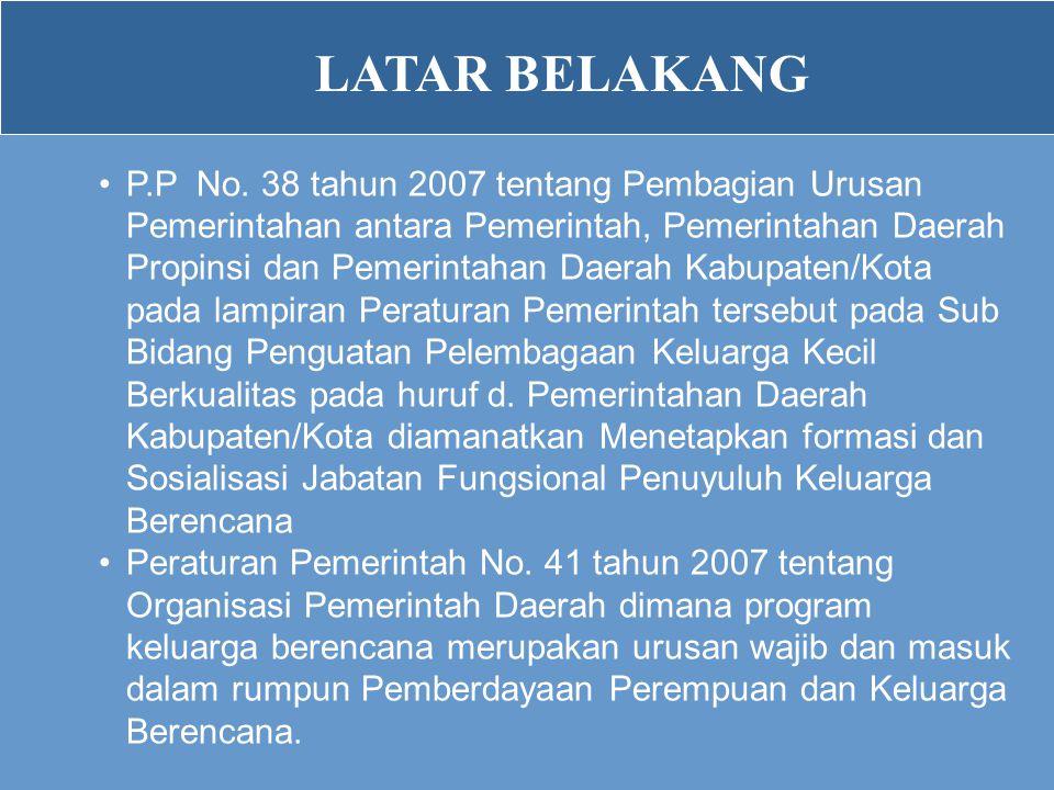 LATAR BELAKANG •P.P No. 38 tahun 2007 tentang Pembagian Urusan Pemerintahan antara Pemerintah, Pemerintahan Daerah Propinsi dan Pemerintahan Daerah Ka