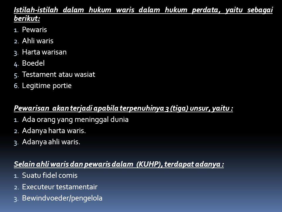 Istilah-istilah dalam hukum waris dalam hukum perdata, yaitu sebagai berikut: 1. Pewaris 2. Ahli waris 3. Harta warisan 4. Boedel 5. Testament atau wa