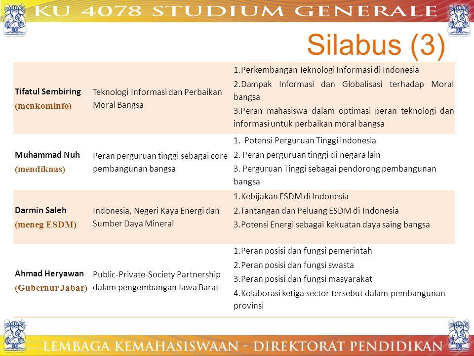 Silabus (3) Tifatul Sembiring (menkominfo) Teknologi Informasi dan Perbaikan Moral Bangsa 1.Perkembangan Teknologi Informasi di Indonesia 2.Dampak Inf