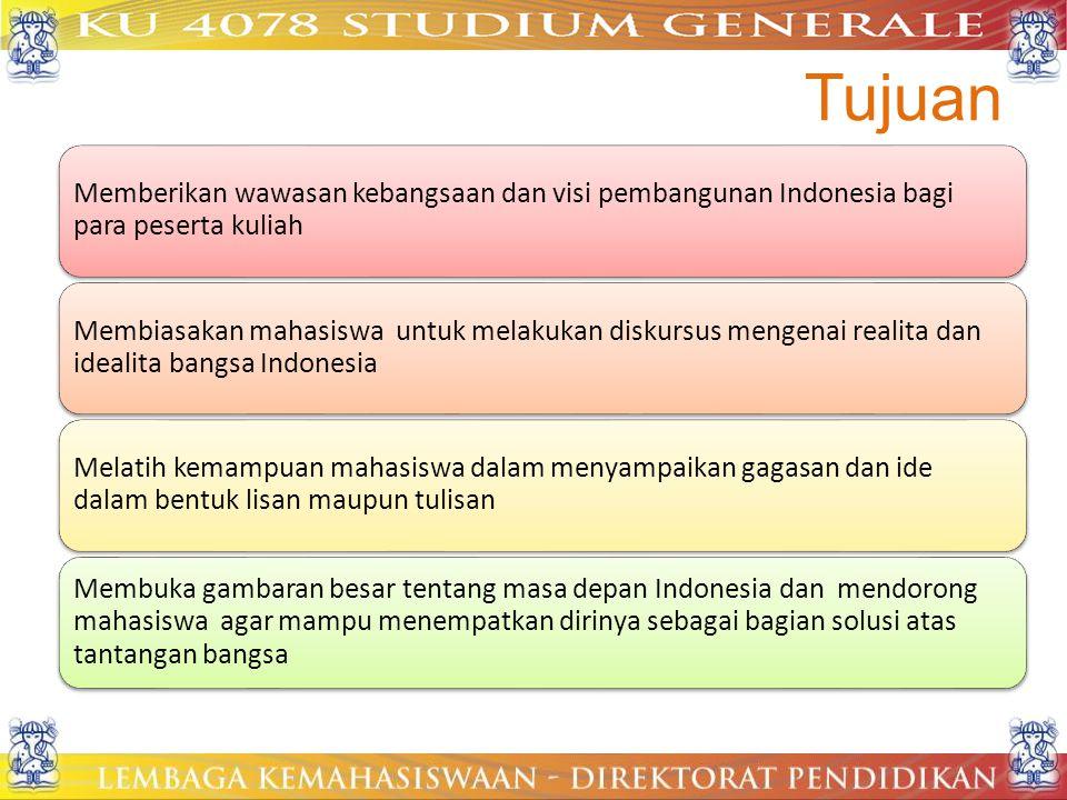 Tujuan Memberikan wawasan kebangsaan dan visi pembangunan Indonesia bagi para peserta kuliah Membiasakan mahasiswa untuk melakukan diskursus mengenai