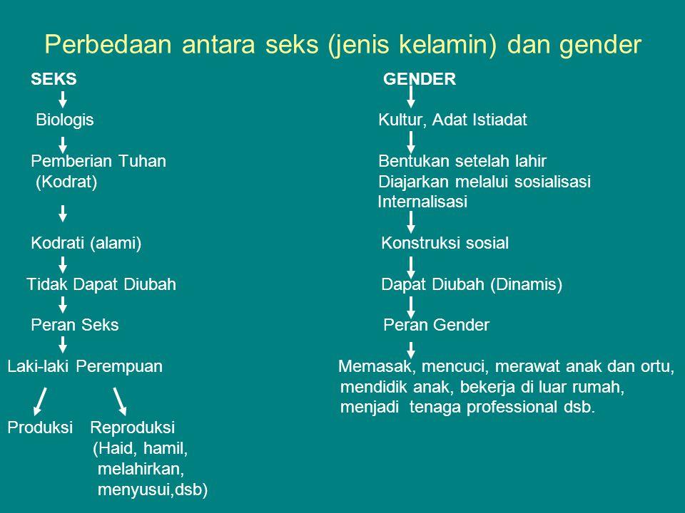 Perbedaan antara seks (jenis kelamin) dan gender SEKS GENDER Biologis Kultur, Adat Istiadat Pemberian Tuhan Bentukan setelah lahir (Kodrat) Diajarkan