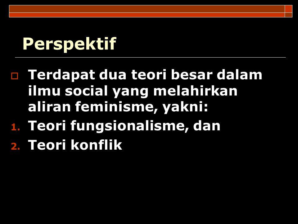 Perspektif  Terdapat dua teori besar dalam ilmu social yang melahirkan aliran feminisme, yakni: 1. Teori fungsionalisme, dan 2. Teori konflik