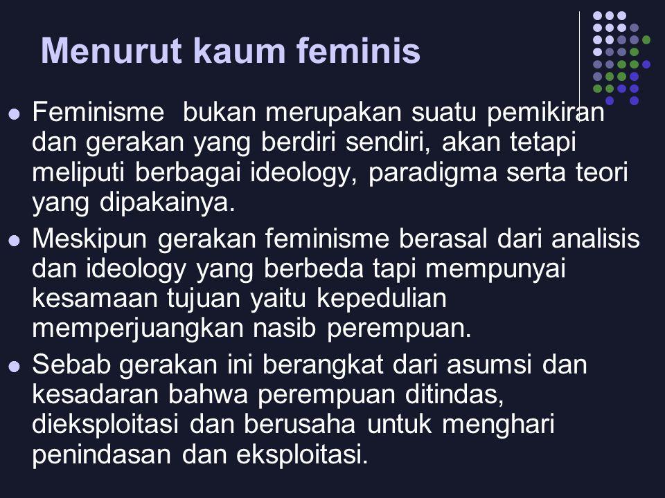 Menurut kaum feminis  Feminisme bukan merupakan suatu pemikiran dan gerakan yang berdiri sendiri, akan tetapi meliputi berbagai ideology, paradigma s