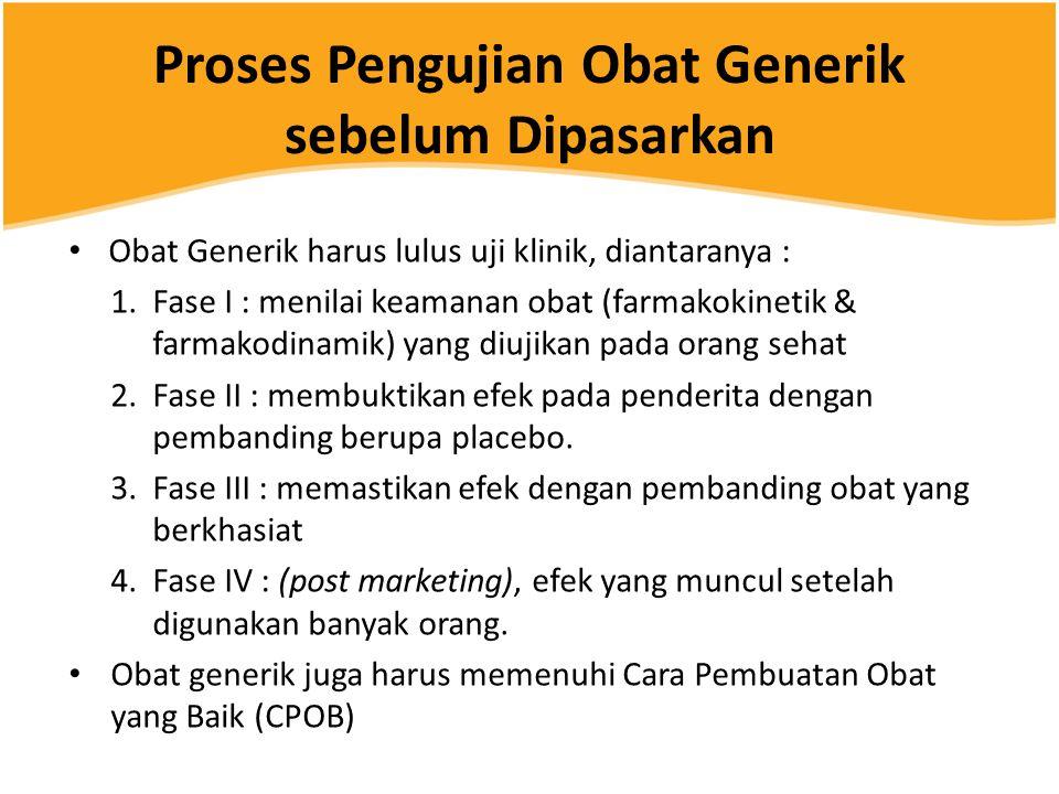 Proses Pengujian Obat Generik sebelum Dipasarkan • Obat Generik harus lulus uji klinik, diantaranya : 1.Fase I : menilai keamanan obat (farmakokinetik