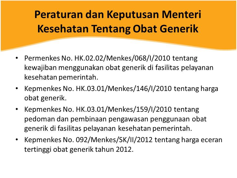 Peraturan dan Keputusan Menteri Kesehatan Tentang Obat Generik • Permenkes No. HK.02.02/Menkes/068/I/2010 tentang kewajiban menggunakan obat generik d