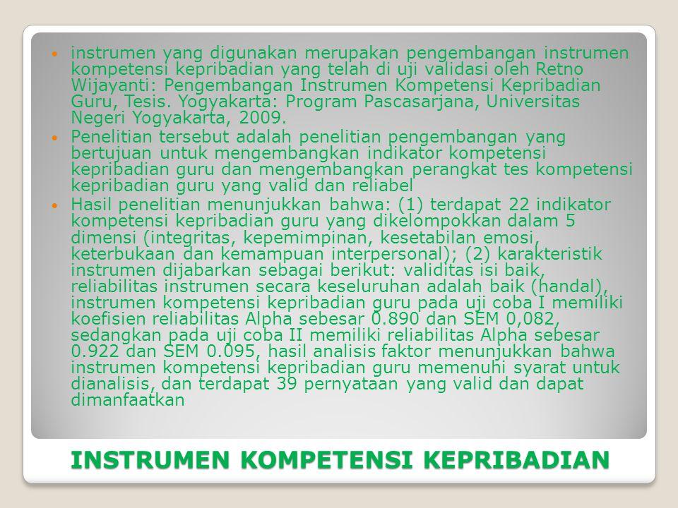 INSTRUMEN KOMPETENSI KEPRIBADIAN  instrumen yang digunakan merupakan pengembangan instrumen kompetensi kepribadian yang telah di uji validasi oleh Retno Wijayanti: Pengembangan Instrumen Kompetensi Kepribadian Guru, Tesis.