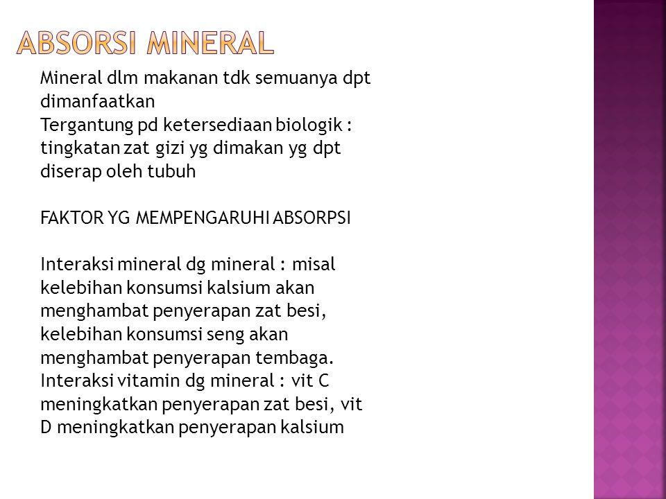  Membaca tentang mineral lainnya seperti selenium, Sulfur, Zinkum dan Iodium.