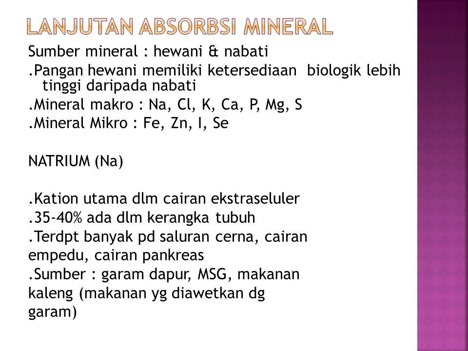 Sumber mineral : hewani & nabati.Pangan hewani memiliki ketersediaan biologik lebih tinggi daripada nabati.Mineral makro : Na, Cl, K, Ca, P, Mg, S.Min