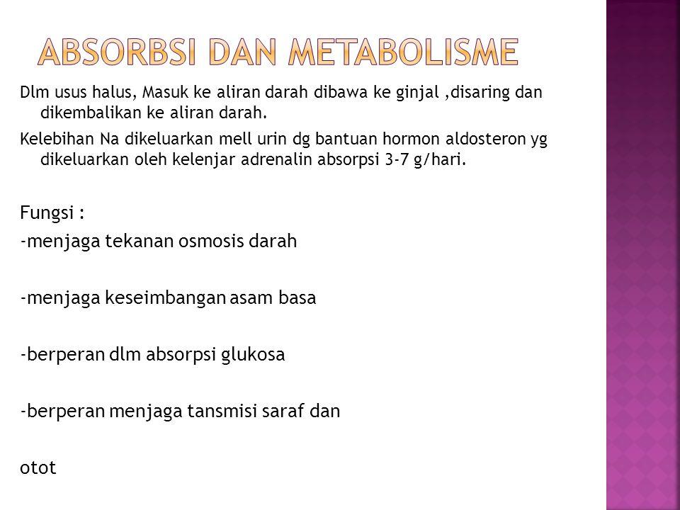 Kebutuhan : 500 mg/hari, dg batasan paling tinggi 6 g/hari Kekurangan : kejang, apatis dan kehilangan nafsu makan Kelebihan : keracunan, ondema, hipertensi KLOR (Cl) Merupakan anion utama cairan ekstraseluler Paling banyak terdpt dlm cairan serebrospinal (otak dan sumsum tulang belakang), lambung, pankreas Jumlah 0,15% berat tubuh Sumber : bersama dg natrium dlm garam dapur dan makanan yg diawetkan