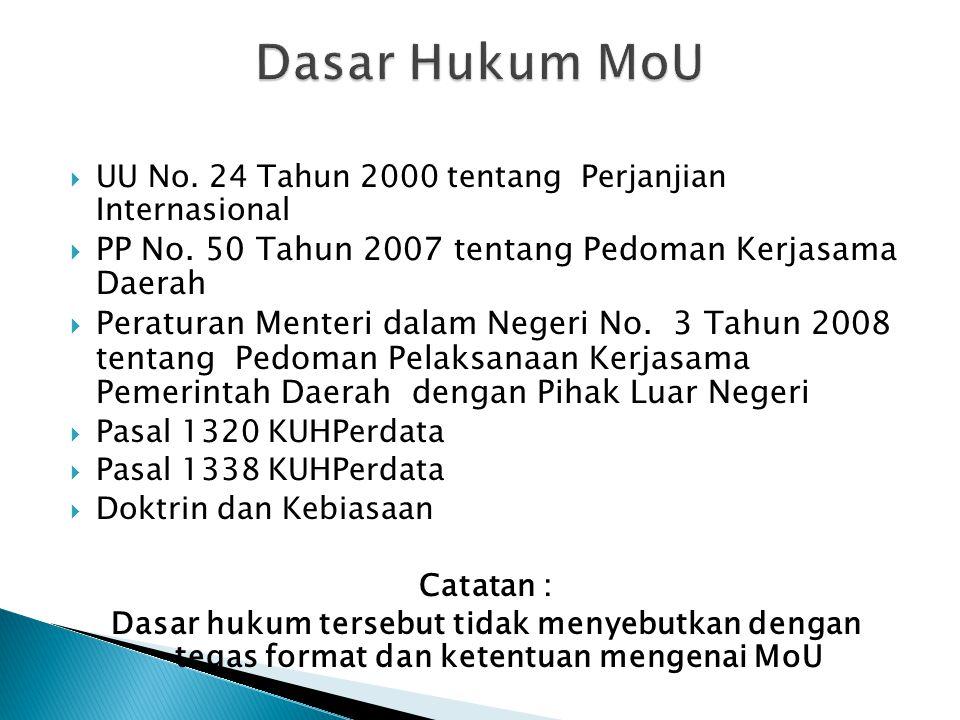 UU No.24 Tahun 2000 tentang Perjanjian Internasional  PP No.