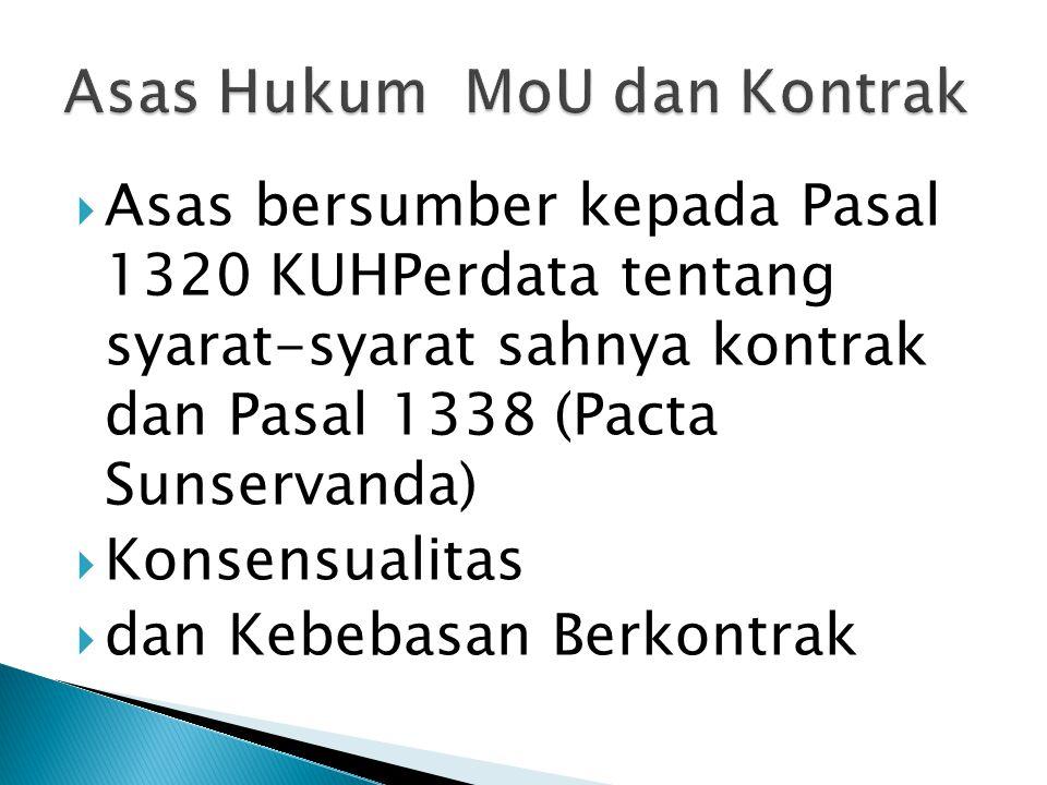  Asas bersumber kepada Pasal 1320 KUHPerdata tentang syarat-syarat sahnya kontrak dan Pasal 1338 (Pacta Sunservanda)  Konsensualitas  dan Kebebasan Berkontrak