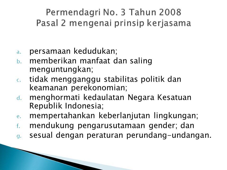 a.kerjasama provinsi dan kabupaten/kota kembar ; b.