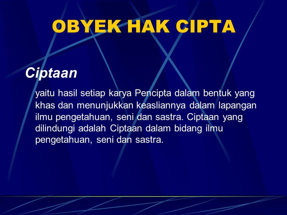 Undang-undang yang mengatur Hak Cipta:  UU Nomor 19 Tahun 2002 tentang Hak Cipta  UU Nomor 6 Tahun 1982 tentang Hak Cipta (Lembaran Negara RI Tahun 1982 Nomor 15)  UU Nomor 7 Tahun 1987 tentang Perubahan atas UU Nomor 6 Tahun 1982 tentang Hak Cipta (Lembaran Negara RI Tahun 1987 Nomor 42)  UU Nomor 12 Tahun 1997 tentang Perubahan atas UU Nomor 6 Tahun 1982 sebagaimana telah diubah dengan UU Nomor 7 Tahun 1987 (Lembaran Negara RI Tahun 1997 Nomor 29)