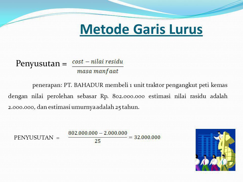 Metode Garis Lurus Penyusutan = penerapan: PT. BAHADUR membeli 1 unit traktor pengangkut peti kemas dengan nilai perolehan sebasar Rp. 802.000.000 est