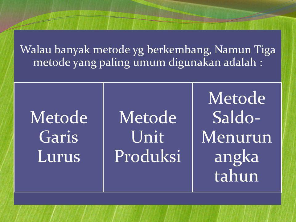 Walau banyak metode yg berkembang, Namun Tiga metode yang paling umum digunakan adalah : Metode Garis Lurus Metode Unit Produksi Metode Saldo- Menurun