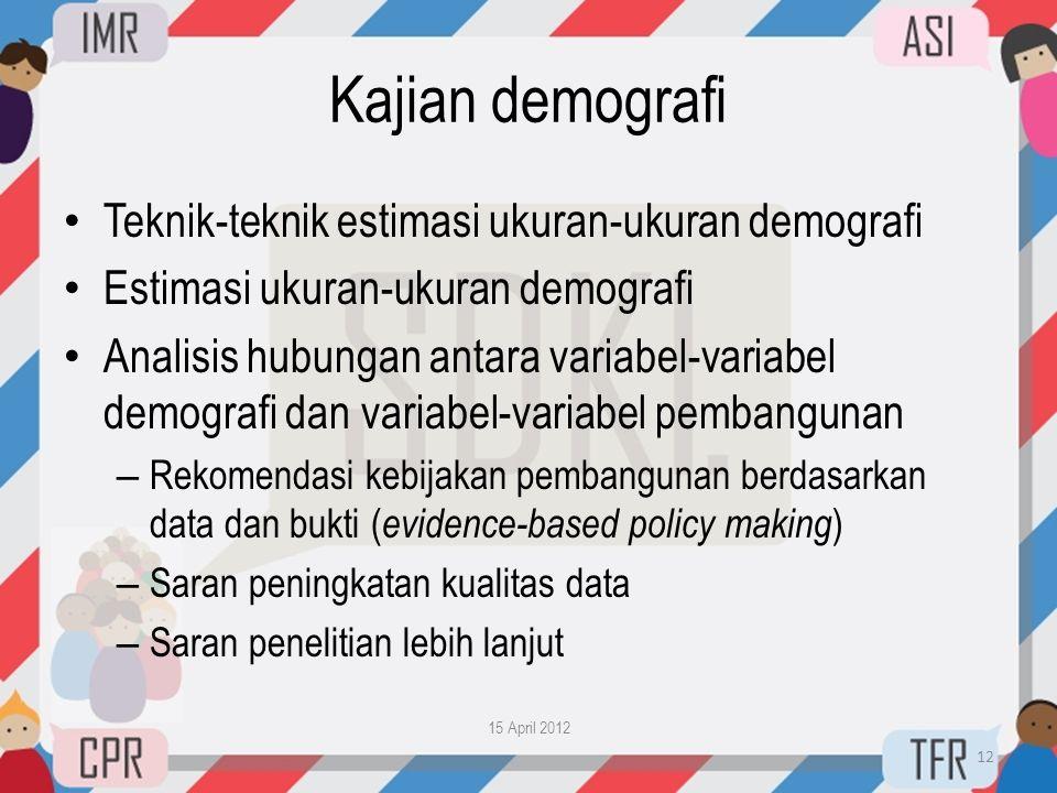 Kajian demografi • Teknik-teknik estimasi ukuran-ukuran demografi • Estimasi ukuran-ukuran demografi • Analisis hubungan antara variabel-variabel demo