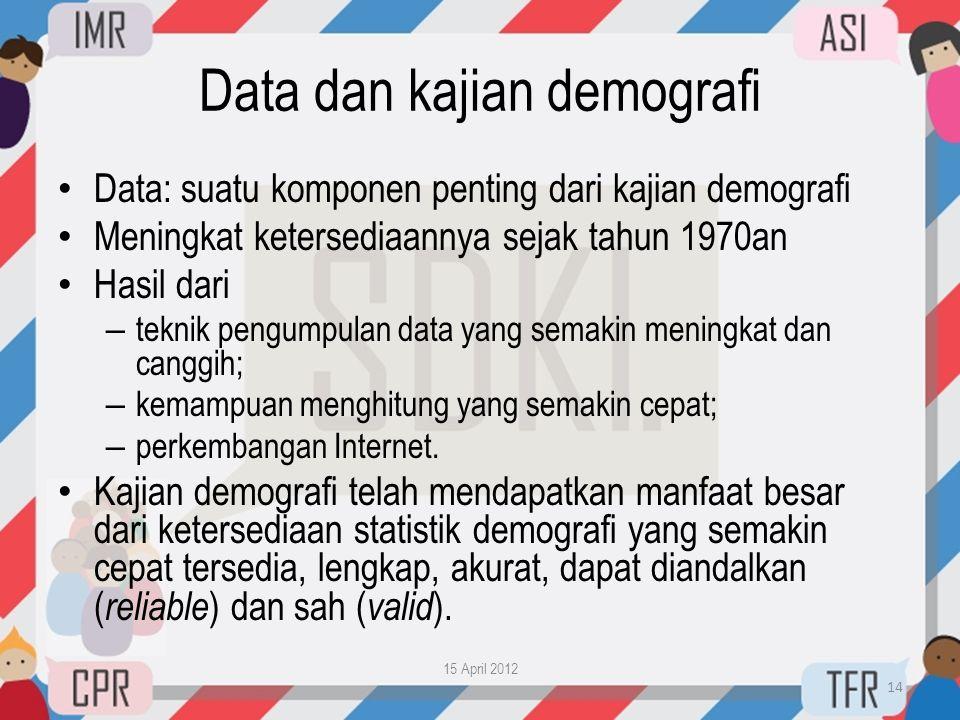Data dan kajian demografi • Data: suatu komponen penting dari kajian demografi • Meningkat ketersediaannya sejak tahun 1970an • Hasil dari – teknik pe