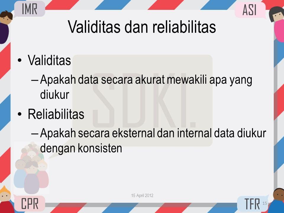 Validitas dan reliabilitas • Validitas – Apakah data secara akurat mewakili apa yang diukur • Reliabilitas – Apakah secara eksternal dan internal data
